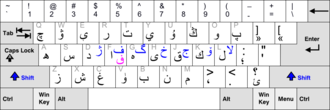 """Uyghur Arabic alphabet - MS Windows Uyghur keyboard layout. In this keyboard layout, vowels use the older alphabet from the Arabic script, and not the newer plain letters of the Uyghur Ereb Yëziqi alphabet (composed of pairs of Arabic letters, starting with an alef with hamza that must be entered separately on this keyboard before the actual vowel). The keyboard layout is also based on the older Latin alphabet used for the Mixed Uyghur Yëngi Yëziq and does not allow entering all vowels correctly for the current Arabic script. It more closely matches the older Chatagai script, which is now deprecated for Uyghur and is considered suitable only for the Kona Yëziq, i.e. """"old script""""."""