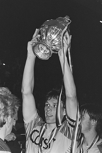 Marco van Basten - Van Basten lifting the 1987 KNVB Cup for Ajax.