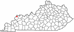 Location of Uniontown, Kentucky