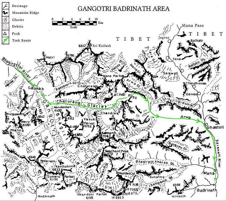 Trek route map for Kalindi Khal Trek