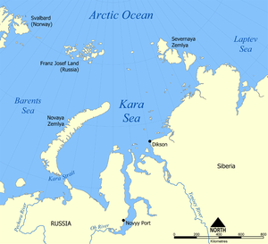 Kara Sea - Map showing the location of the Kara Sea.