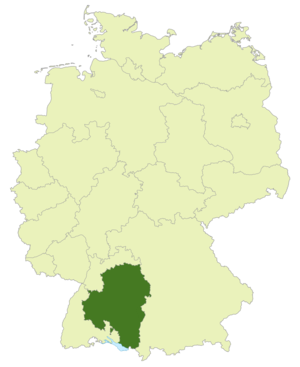 Verbandsliga Württemberg - Image: Karte DFB Regionalverbände WÜ