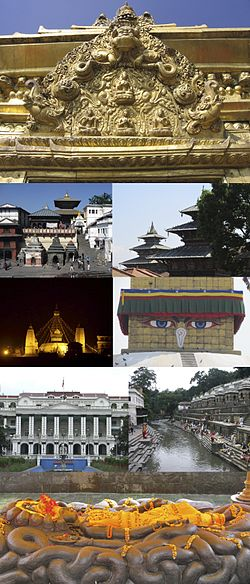 ด้านบน: Torans seen in portals around Kathmandu, Degutaleju with Taleju in background at Kathmandu Durbar Square, Boudhanath Stupa, Bagmati river, Budhanilkantha, Singha Durbar, Swayambhunath temple at night, Pashupatinath temple