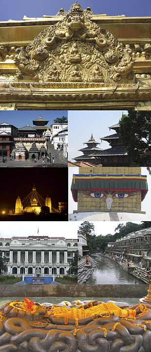 """Clockwise from top: Torans seen in portals around Kathmandu, Degutaleju with Taleju in background at <a href=""""http://search.lycos.com/web/?_z=0&q=%22Kathmandu%20Durbar%20Square%22"""">Kathmandu Durbar Square</a>, <a href=""""http://search.lycos.com/web/?_z=0&q=%22Boudhanath%22"""">Boudhanath Stupa</a>, <a href=""""http://search.lycos.com/web/?_z=0&q=%22Bagmati%20river%22"""">Bagmati river</a>, <a href=""""http://search.lycos.com/web/?_z=0&q=%22Budhanilkantha%22"""">Budhanilkantha</a>, <a href=""""http://search.lycos.com/web/?_z=0&q=%22Singha%20Durbar%22"""">Singha Durbar</a>, <a href=""""http://search.lycos.com/web/?_z=0&q=%22Swayambhunath%22"""">Swayambhunath</a> temple at night, <a href=""""http://search.lycos.com/web/?_z=0&q=%22Pashupatinath%20temple%22"""">Pashupatinath temple</a>"""