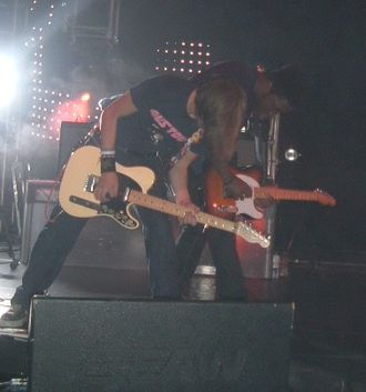 Bloc Party - Bloc Party's Lissack and Okereke on stage in Cardiff in October 2005