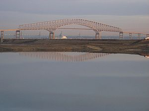 Francis Scott Key Bridge (Baltimore) - Key Bridge with Baltimore in background, viewed from Cox Creek Industrial Park, November 2011