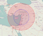 Area-denial anti-access bubble created by Iskander-M and S-400 systems deployed at Russia's Khmeimim airbase. Red – ballistic missile range (700 km). Blue – maximum range of the S-400 system with 40N6 missile (400 km).