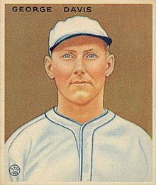 A baseball card of a man in a white baseball jersey and cap, both trimmed with blue.