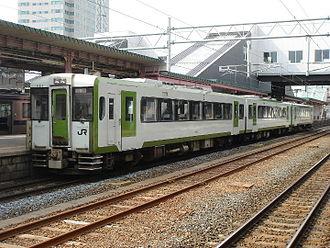 Kamaishi Line - KiHa 110 series DMU train at Morioka on a Hamayuri rapid service, March 2007