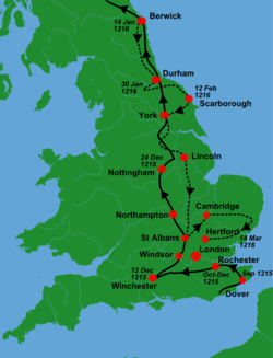 A map of England showing King John's march north and back south with solid black and dashed arrows.
