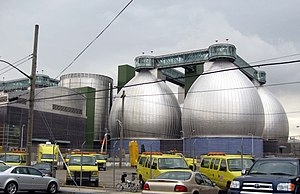 "Newtown Creek - Three ""digester eggs"" at Newtown Creek Wastewater Treatment Plant"