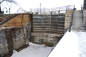 Kingston Mills - Lock 47 at Kingston Mills. This is one of the three lower locks. The upper lock gate is shown