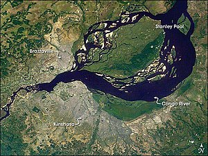Pool Malebo - Satellite image of the Pool Malebo; the capital cities of Brazzaville, ROC and Kinshasa, DRC are indicated.