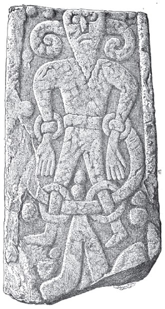 Deity - The Kirkby Stephen Stone, discovered in Kirkby Stephen, England, depicts a bound figure, who some have theorized may be the Germanic god Loki.