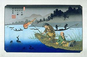 Cormorant fishing on the Nagara River - Keisai Eisen's print of Gōdo-juku,part of the series The Sixty-nine Stations of the Kiso Kaidō