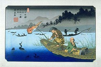 Cormorant fishing - Keisai Eisen's print of cormorant fishing on the Nagara River during the Edo period