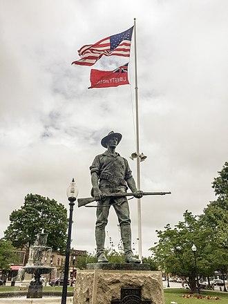 """Taunton, Massachusetts - The """"Hiker"""" Statue on Taunton Green"""