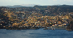 View of the village as seen from Bergen