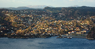 Kleppestø - View of the village as seen from Bergen