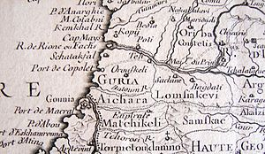 Kobuleti - Port of Kobuleti (Port De Copolet) in 1723. Detail from the map by Nicolas DeLisle, Paris, 1723
