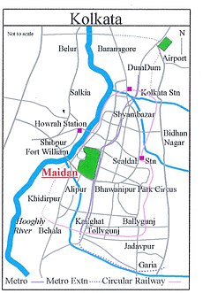Location of Maidan in Kolkata map