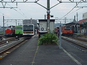 Komagawa Station - Early morning view of the platforms looking south in August 2003, before the footbridge was built between the platforms