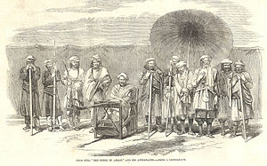 "37th (North Hampshire) Regiment of Foot - Koor Sing, ""The Rebel of Arrah"", and his attendants – From a photograph, from the Illustrated London News (1857)"
