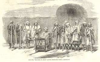 """Siege of Arrah - Koor Sing, """"The Rebel of Arrah"""", and his attendants – From a photograph, from the Illustrated London News (1857)"""