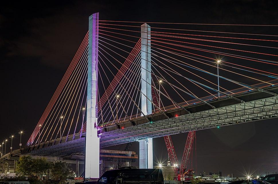 Kosciusko Bridge illuminated at night