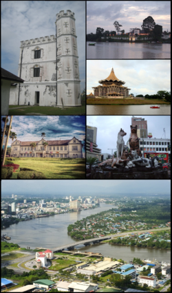 Clockwise from top right: The Astana, State Assembly building, cat statues, Pending Bridge, Sarawak State Museum, and Fort Margherita.