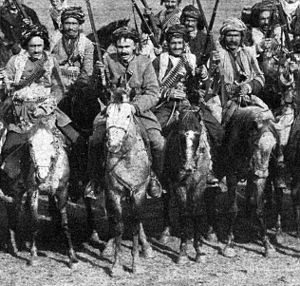 Early Kurdish nationalism - Kurdish Cavalry in the passes of the Caucasus mountains (The New York Times, January 24, 1915).