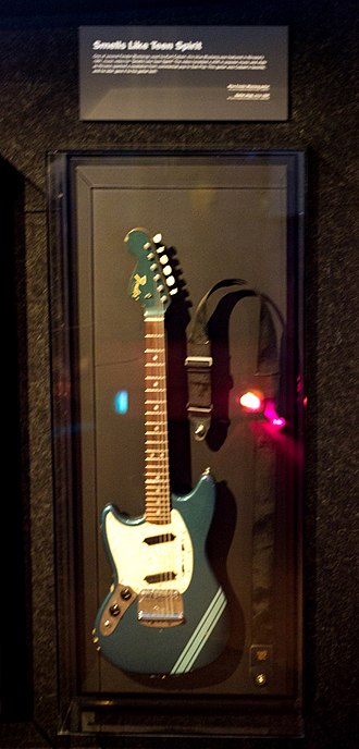 "Kurt Cobain - The Fender Mustang Lake Placid Blue guitars played by Kurt Cobain during the filming of the video for ""Smells Like Teen Spirit"", shown at the Seattle Experience Music Project"