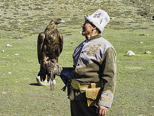 Kyrgyz man with golden eagle