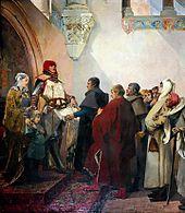 tableau représentant Renaud de Bourgogne, sa femme et son fils remontant aux bourgeois de la ville de Belfort les lettres de franchise