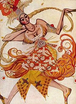 Леон Бакст. Эскиз костюма к балету «Жар-птица» (1910)