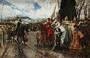 Conquistador - The surrender of Granada in 1492. The last Moorish sultan of Granada, Muhammad XII, before Ferdinand and Isabella.
