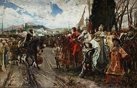 January 2 - Muhammad XII, last Moorish Emir of Granada, surrenders his city to the army of Ferdinand and Isabella. La Rendicion de Granada - Pradilla.jpg