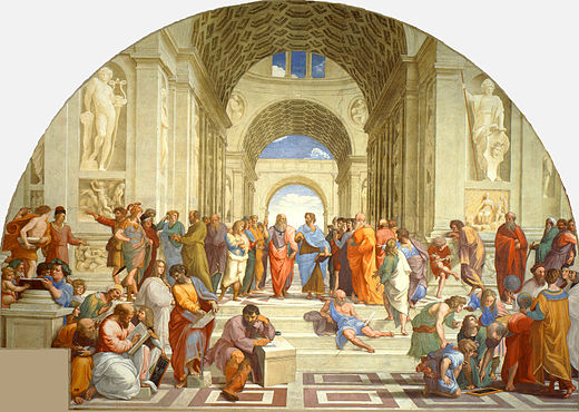The School of Athens by Raphael (1511): Contemporaries such as Michelangelo and Leonardo da Vinci (centre) are portrayed as classical scholars of the Renaissance. La scuola di Atene.jpg