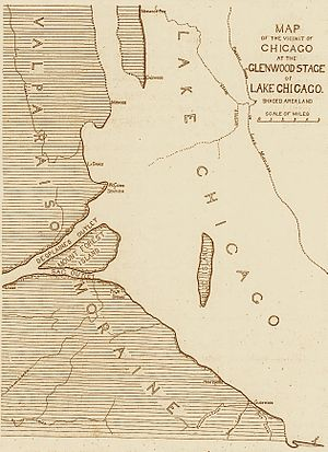 Valparaiso Moraine - Map of the southwestern coast of Proglacial lake Lake Chicago at the Valparaiso Moraine.