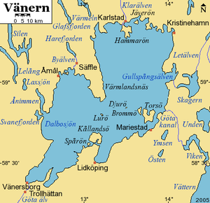 Vänern - Detail map of the lake with surroundings