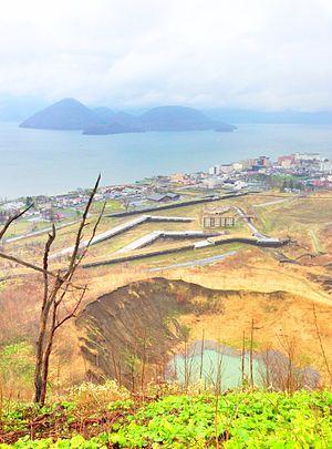 Mount Usu - Image: Lake touya and volcano usu