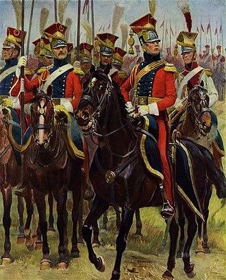 2e régiment de chevau-légers lanciers de la Garde Impériale - Red Lancers officer, trumpeter and troopers