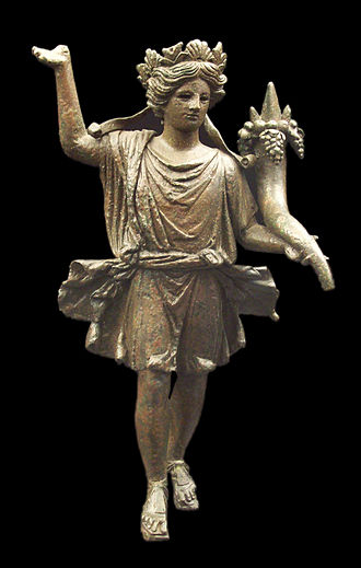 Lares - Lar holding a cornucopia from Axatiana (now Lora del Rio) in Roman Spain, early 1st century AD (National Archaeological Museum of Spain).