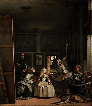 Court painter - Las Meninas, Diego Velázquez, 1656, shows a princess watching her unseen parents as Velázquez paints them; the cross on his chest was added later, according to legend painted by the king himself, after the artist received the Order of Santiago in 1659 (click on image and run cursor over to identify figures).