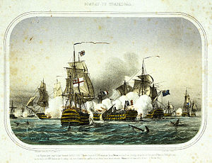 French ship Redoutable (1791) - Redoutable during the late stages of the battle, dismasted and attacked by two larger ships.
