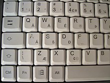 Photo of part of a QWERTY keyboard with a thorn on the t key