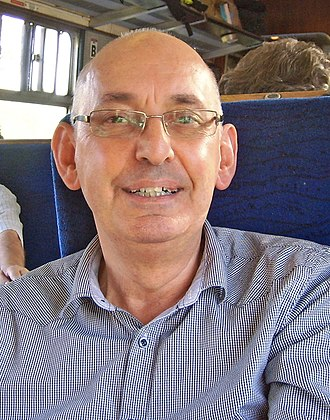 Les Ross - Les Ross in 2011 travelling on a mainline charter train hauled by his locomotive