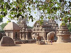 Group of temples and sculptures, close together