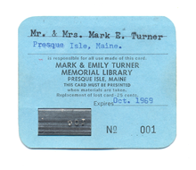 A The first library card from the Turner Memorial Library, Card 001, originally owned by Mark and Emily Turner.