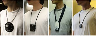 Lifelog - Evolution of the lifelogging lanyard camera. From left to right: Mann (1998); Microsoft (2004); Mann, Fung, Lo (2006); Memoto (2013)